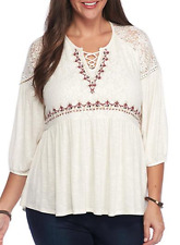 LOVE ON A HANGER WOMEN'S IVORY EMBROIDERED W/ LACE LONG SLEEVE TOP PLUS Sz 1X