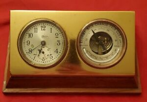 Chelsea Ship Clock Barometer Antique Vintage Old Brass Heavy