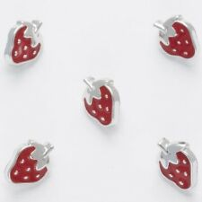 Red & silver trimmed Strawberry buttons, 12mm shank on back per 5 buttons