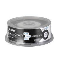 25pcs CD-R 700MB 80min Blank Discs 52X Vinyl Black Record 65mm Circle Printable