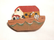 Art Inspired Brooch Pin Wooden Painted Noah'S Ark Folk