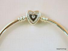 AUTHENTIC PANDORA BRACELET WISHFUL HEART BANGLE #590729CZ CHOICE OF BOX AND SIZE