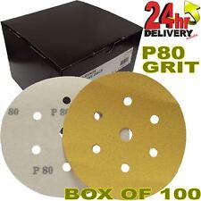 """Pro Range Gold P80 Grit 6+1 Holes 6"""" HookNLoop DA Sanding Discs Box 100"""