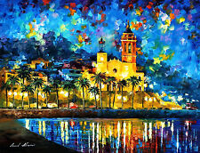 """Spain, Sitges — Palette Knife Oil Painting On Canvas By Leonid Afremov 40""""x30"""""""