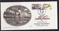 Grande Enveloppe 100è anniversaire  naissance   Georges Guynemer 1994 + vignette