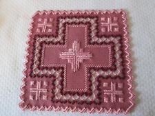 New listing Hardanger Doily Norwegian Embroidery Rose-Burgundy