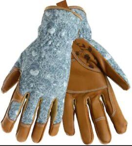 Womens Medium Beige/Turquoise Leather Garden Gloves