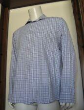XL Men Pronto Uomo Long Sleeve Button Shirt White Blue Plaid 100% Cotton
