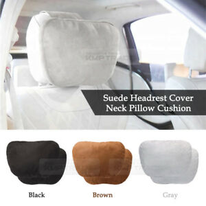 Neck Pillow Headrest Cover Suede Leather Cushion 3Color 2EA-1Set for All Vehicle