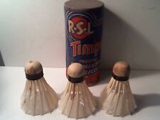 3 VINTAGE R.S.L. TIMPE' REAL FEATHER BADMINTON SHUTTLECOCKS W/ CAN