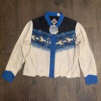 VTG 90s Western Southwestern Cowgirl Shirt Rodeo Blue Black Womens L Southwest
