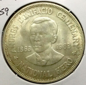 World Silver Coin - Uncirculated 1963 Philippines 1 Peso #259