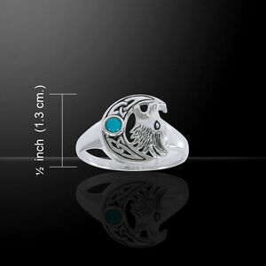Wolf Howling Crescent Moon .925 Sterling Silver Ring by Peter Stone Jewelry Fine