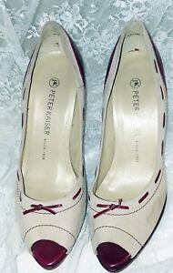 """Peter Kaiser Women's Shoes Size 7M  Beige/Burgundy  4.5"""" Heels  German Made"""