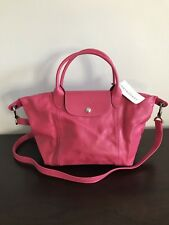 Longchamp Le Pilage Cuir Leather Handbag in Hot Pink New With Tag