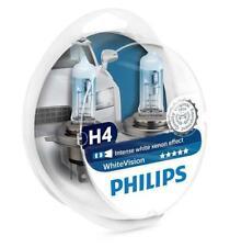 2x H4 PHILIPS WhiteVision 12V 60/55W 12342WHVSM P43t-38 Headlight Bulbs Twin