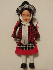 """Hard plastic doll - Girl with black brimmed hat and plaid shawl - 6"""" tall"""