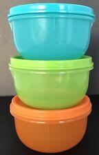 Tupperware Ideal Lit'l Bowls 3 Pc Set Aqua Blue Orange Green Little Snacks New