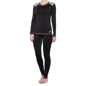 HEAD Fleece Lined 2 PC BASE LAYER Leggings Pants & SHIRT SET Womens Size XL NEW