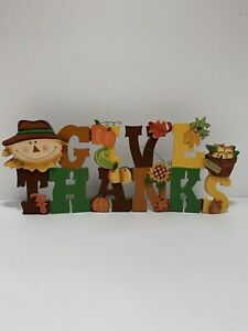 Give Thanks AUTUMN FALL Decor Sign Wall Door Plaque Thanksgiving Foldable