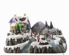 Xmas Animated Musical LED Waterfall on Rocks with Skaters and Xmas Tree Village