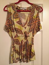 Fabulous Trina Turk Yellow Print Top Size P (small)
