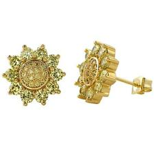 Cz Bling Bling Earrings IcedOut Ear Jewelry Hip Hop Sun Burst Ice Gold Canary