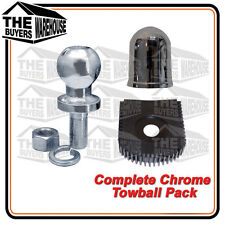 HEAVY DUTY CHROME TOW BALL 50MM 3500KG SHIN PROTECTOR CHROME TOW BALL COVER PACK