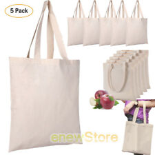 461ecad8a9d8 5 Pack Bulk Cotton Canvas Tote Bags Reusable Grocery Shopping Blank Tote  Bags