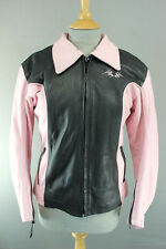 J&S BLACK & PINK LEATHER BIKER JACKET WITH REMOVABLE CE ARMOUR 38 INCH/MEDIUM