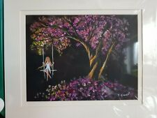 Swing on Cherry Blossom Tree.  An Acrylic painting by Susan Gaunt.