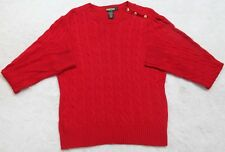 Ralph Lauren Long Sleeve Womens Red Crewneck Sweater Viscose Wool Nylon Cashmere