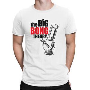Mens Cannabis T-Shirt Organic Cotton - Big Bong Theory - Stoner Clothes Weed