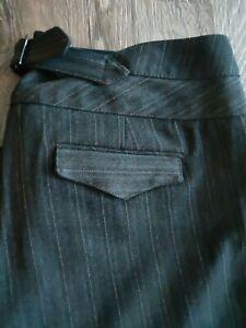 Express Editor women's 6R pants gray stripe flare bottom mid rise zip up pocket