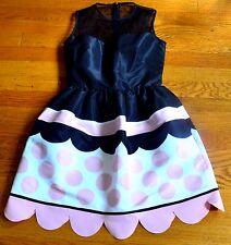 New Red Valentino Lace Mesh Scalloped Polka Dot Pink Black Dress US 0 2 / IT 36