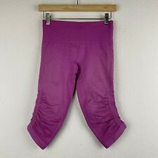LULULEMON Size 4 Raspberry Pink IN THE FLOW Seamless Gym Crop Pants M38 *FLAW