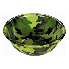 "Army Forces Camouflage Party LARGE 11.5"" Round Plastic Punch Snack Bowl"