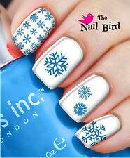 Nail Art Nail Decals Nail Transfers Natural/Acrylic Nails - BLUE XMAS SNOWFLAKES