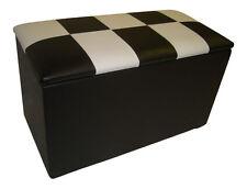 BLACK & WHITE  CHECK FAUX LEATHER TOY BOX / OTTOMAN