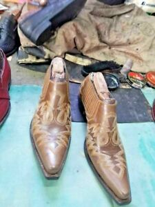 Handmade Men's Mexican Embroidered Cowboy Taxes Half Shoe Western Boots