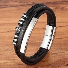 Bracelet pour femme et homme en acier inoxydable et cuir noir 19/21/23 cm