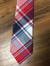 NEW ALEXANDER OLCH Classic Red & Navy Blue Diagonal Plaid Skinny Cotton Neck Tie