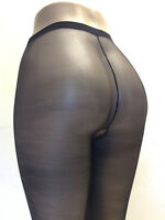 Pantyhose Sheer Crotch-less Queen Plus Size 1X Seamless Black Music Legs 800 Q