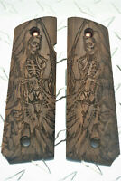 Grim Reaper Gothic Art Laser Carved American Walnut 1911 Grips Full Size