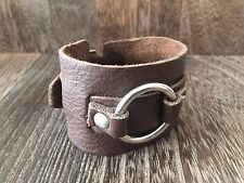 VINTAGE 1980'S PUNK ROCK HANDCRAFTED BROWN LEATHER MENS WRISTBAND BRACELET