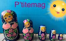 Poupées Russes Matriochka Bleues 5 pieces Tbe
