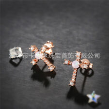 Cross Design White Fire Opal Gemstone Rose Gold Plated Woman Stud Hook Earrings