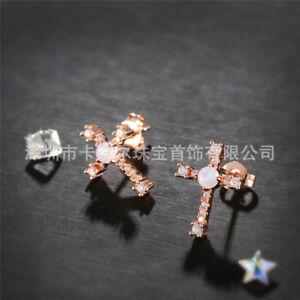 Cross Design White Fire Opal Gemstone Rose Gold Plated Woman Stud Hook Earrings