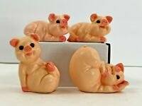 Happy Little Smiling Playful Pigs Collectible Miniature Figurines  2.5 inch