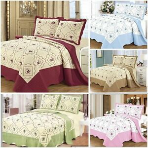 3PCs Quilted cotton Bedspread Embroidery Bed Throw Comforter with 2Pillow Sham